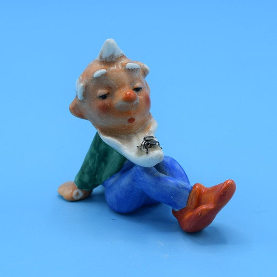 German Gnome with Fly on Beard Figurine Vintage White Haired Elf Sitting Figure Made in Germany Ceramic Painted Dwarf Pixie German Art