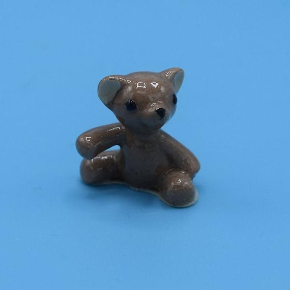 Ceramic Miniature Teddy Bear Figurine Vintage Mini Porcelain Glazed Bear Shadowbox Animal Figurine Windowsill Decor Gift for Her Cake Topper
