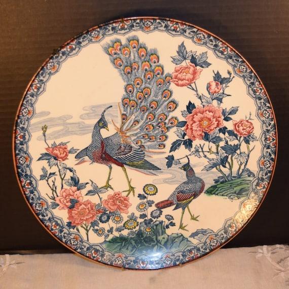 Asahi Peacock Plate Vintage Japanese Display Plate Cobalt Blue Peacocks 1930s Japan Porcelain Decorative Plate with Hanger Large Plate