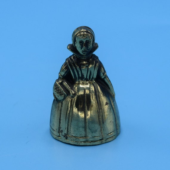 Brass Victorian Lady Bell Vintage Solid Brass Miniature Bell English Lady Figurine Gift for Her Mothers Day Gift Made in England