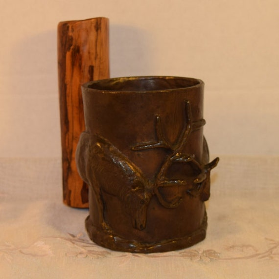 FIGHTING ELK Ltd. Ed. Bronze Sculpted Mug by Carl WAGNER 1977 Vintage Rare & Rustic Stags Bronze Sculpted Mug with Wood Handle Gifts For Him