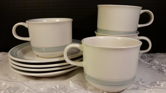 Country Glen Sunny Meadows Stoneware Cups & Saucers Vintage Set of 4 Japan Stoneware Blue Cream Stripe Cups and Saucers Oven Microwave Safe