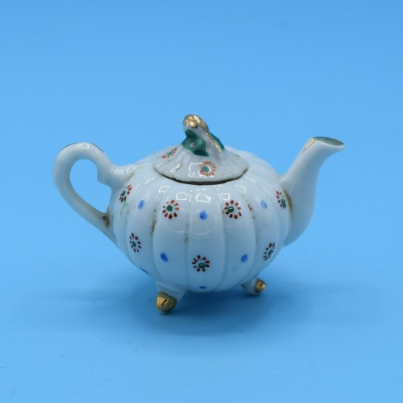 Occupied Japan Miniature Tea Pot Vintage Dollhouse Teapot Decor Children's Toy Porcelain Tea Pot Gift for Her Afternoon Tea Free Shipping