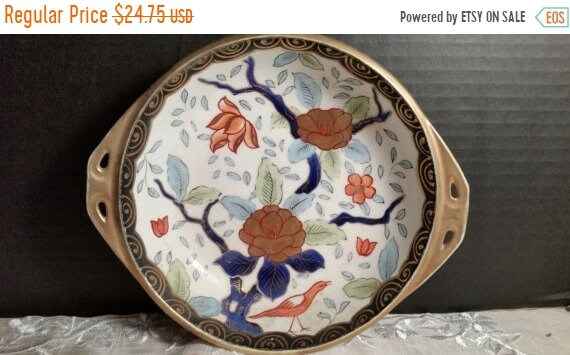 Sale Clearance Nippon Bird Blossom Bowl Vintage Hand Painted Gold Handles Flowers & Bird Japanese Art Handpainted Floral Gold Nippon Dish De