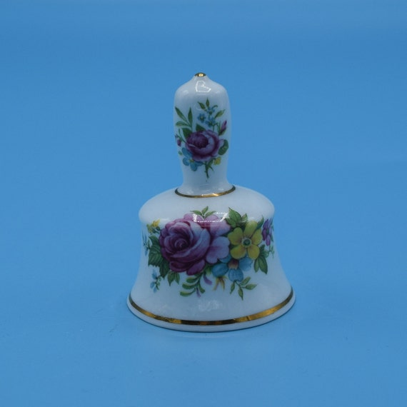 Lady Eleanor Bell Vintage Miniature English Bell Porcelain Fine Bone China Mini Floral Gilded Bell Vanity Gift for Her Mothers Day Gift