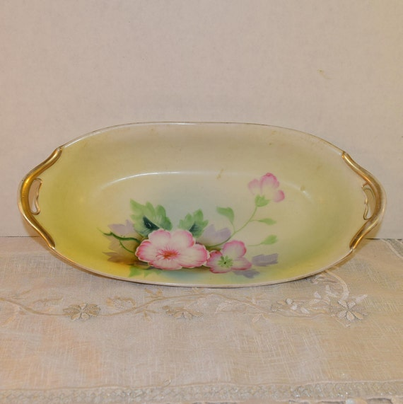 Meito China Oval Vegetable Dish Vintage Yellow Pink Oblong China Mismatched Meito Japan China Wedding Gift Dinner Tea Party Gift for Her