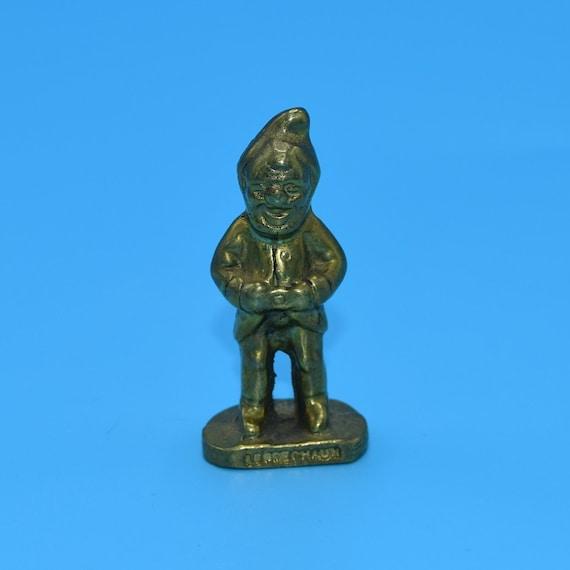 Brass Leprechaun Figurine Vintage Miniature Brass Sculpture Solid Brass Mini Pixie Elf Fairy Garden Terrarium Figurine St Patricks Day Gift