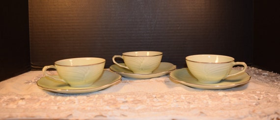 Seyei Cup & Saucers Set of 3 Vintage Japan Sage Leaf Cups Saucers Set Platinum Trim #316 Wedding Gift Discontinued China Replacement