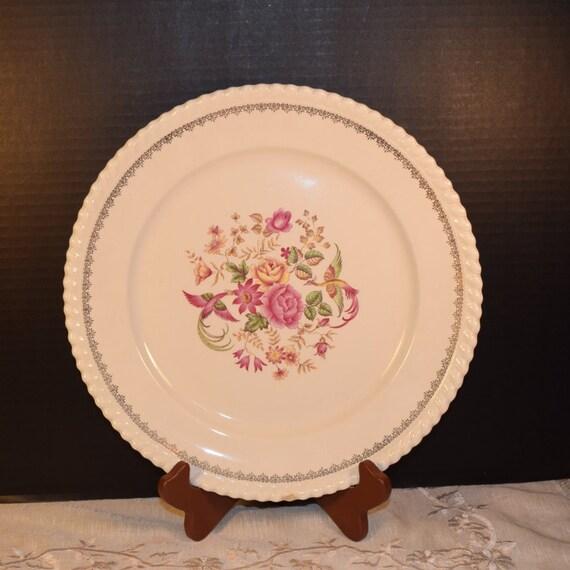 Badonviller Bilbao Platter Vintage KG Luneville French Serving Plate Keller Guerin France Dinnerware Pink Serving Platter Wedding Gift