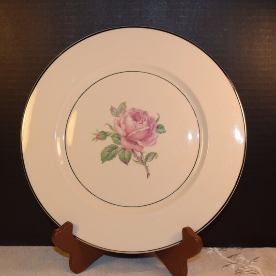 Ancestral Manor Rose Dinner Plate Vintage Wedding Plate Gift Pink Rose Plate Platinum Trim Ancestral Dinnerware Replacement China USA