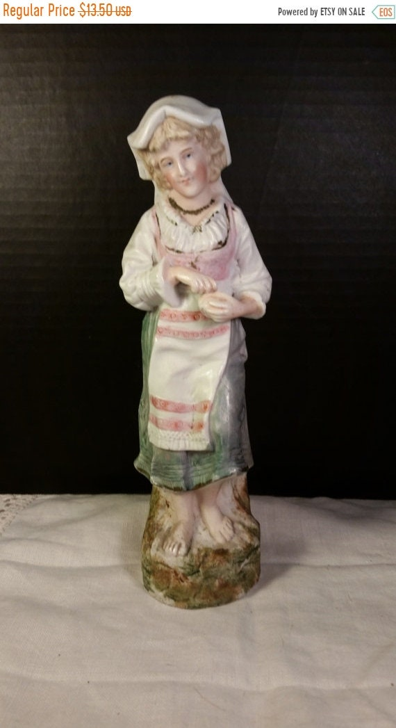 Sale Clearance Maiden Ceramic Figurine Vintage Barefoot Peasant Lady with Bonnet Ceramic Figurine Shabby Chic Cottage Chic Decor French Coun