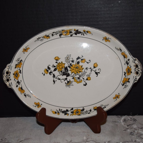 Canonsburg Serving Platter Vintage Yellow Wild Flowers Gold Trim 2 Handle Serving Dish CAN270 Discontinued Pattern Canonsburg Replacement