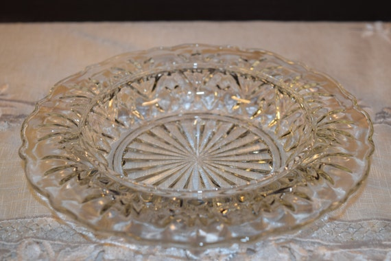 Anchor Hocking Butter Dish Vintage Clear Glass Pineapple Pattern Bowl Pressed Glass Cheese Tray Heavy Ashtray Tobacciana Collectible