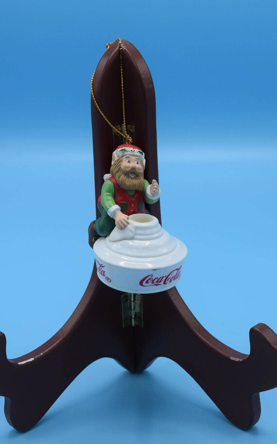 Coca-Cola Elf Ornament Vintage 1997 Elf on Lampshade The Coca-Cola Bottling Works Tree Ornament Elf Christmas Tree Ornament Christmas Decor