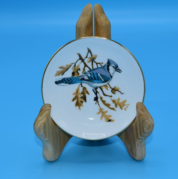 Crown Staffordshire Bluejay Butter Pat Plate Vintage Fine Bone China England Blue Bird on Branch Trinket Ring Dish Gift for Her Mothers Day
