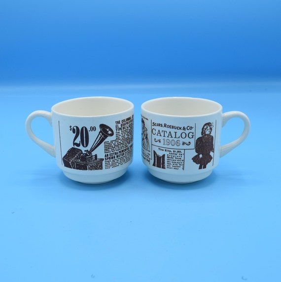 FREE SHIPPING Sears Roebuck and Co Catalog 1906 Coffee Cups Vintage Set of 2 Sears Commemorative Mug Made in USA Sears Coffee Cup