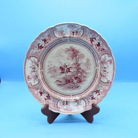 Belzoni Enoch Wood & Sons Red Transferware Dinner Plate Vintage 1830 Antique EW S Red and White Dinnerware Gift for Her Replacements