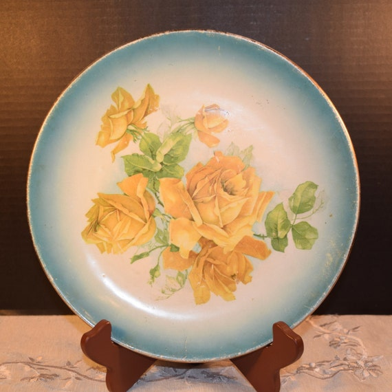 Colonial Co Yellow Rose Plate Vintage Mothers Day Gift Hand Painted Yellow Rose Blue Trim Decorative Plate East Liverpool, OH Made in USA
