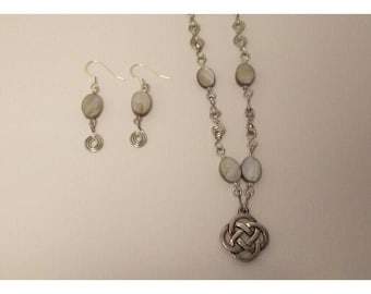 Celtic mother of pearl necklace and earring set