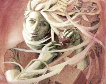 Rose: Original Illustration on Wood, 18x24in