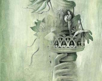 Francisco: Original Illustration on Wood, 18x24in