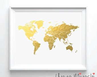 Gold foil world map etsy world map ii gold foil print gold print map custom print in gold illustration art print map of the world with border gold foil art print gumiabroncs Choice Image