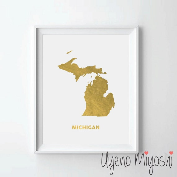 Gold In Michigan Map.Michigan Map Gold Foil Print Gold Print Custom Map Print In Etsy