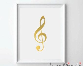 Music Note I Gold Foil Print, G Clef Gold Print, Custom Print in Gold, Illustration Art Print, Treble Clef Gold Foil Art Print