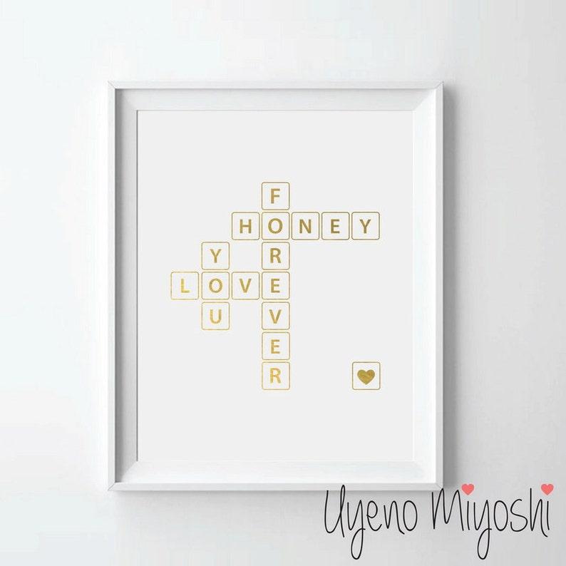 Puzzle Krzyżówka Iii Styl Kocham Cię Na Zawsze Miód Złoto Folia Print Gold Drukuj Art Print Puzzle Krzyżówka Wyścig Złota Folia