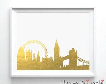 London Skyline II Gold Foil Print, Gold Print, Tower Bridge Gold Print, Illustration Art Print, London Eye Gold Foil Art Print