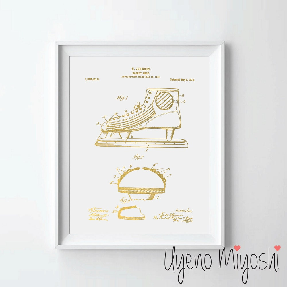 999054602a766 Hockey Skate Patent Print, Hockey Shoe Patent Gold Foil Print, Vintage  Hockey, Hockey Gift, Spots Decor, NHL Print, Hockey Shoe Gold Print