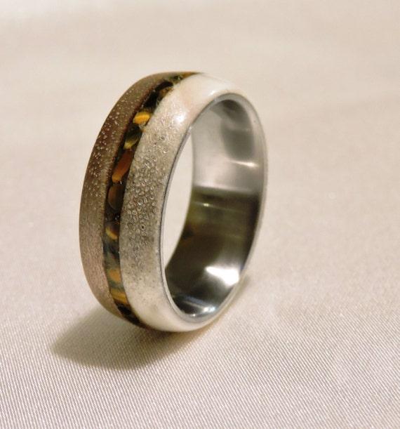 Walnut Wood,Bronze Ring Wood Ring Deer Antler Ring Bronze pinstripe inlay.
