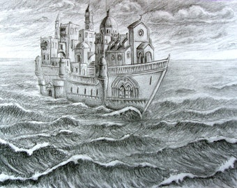 THE SAILING VILLAGE Original Graphite Drawing on Paper, Surreal Architecture, Magical, Fantasy, Seascape