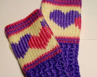 Hearts Fingerless Gloves Wrist Warmers