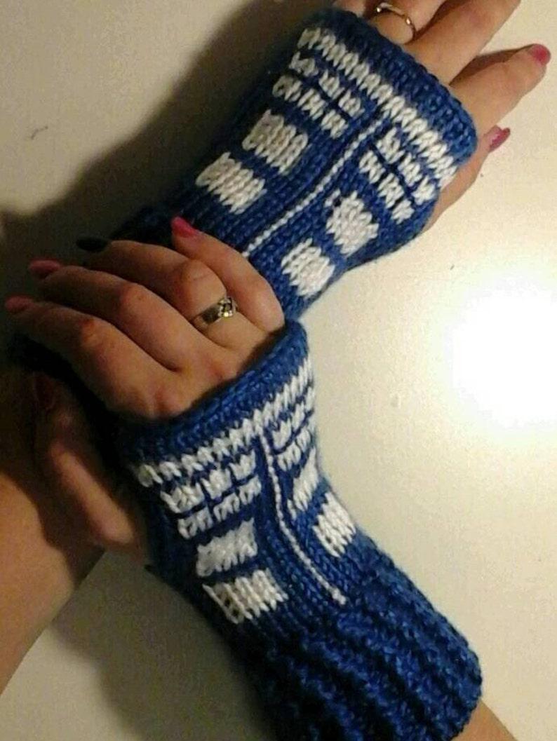 2434aa3bd Dr. Who Tardis Fingerless Gloves Wrist Warmers   Etsy