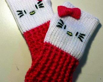 Hello Kitty Fingerless Gloves Wrist Warmers