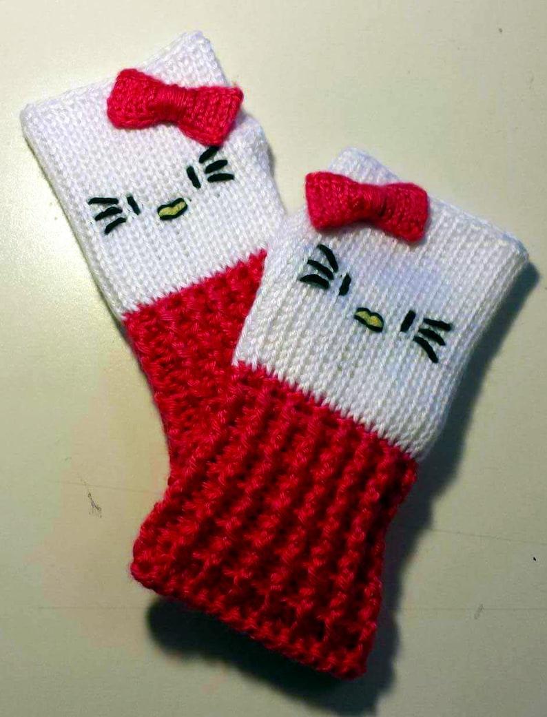 aaa8a39b2 Hello Kitty Fingerless Gloves Wrist Warmers   Etsy