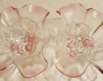 Mikasa Pink Glass Rosella Relish Dish