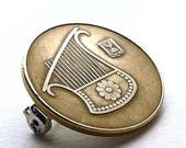 Jewish coin brooch, Israel, Bat Mitzvah gift, Hanukkah gift, Music brooch, Ancient instrument, Harp, Coin jewelry, Brooches, Pins, Accessory