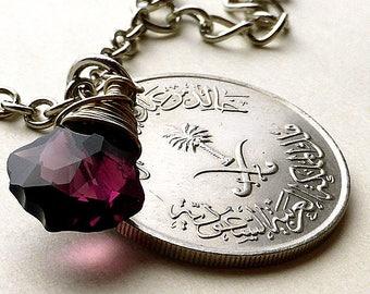 Saudi Arabian coin necklace, Swarovski necklace, Amethyst pendant, Arabian jewelry, Palm tree, February Birthstone, Pendants, Coins