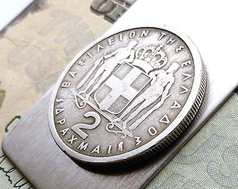a9b746a57d2d Greek money clip, Men's accessory, Men's gifts, Men's wallet, Coin money  clip, Gifts for him, Guys gifts, Coins, Money, Clips, Repurposed