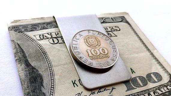 Portugais, pince à billets, 1990, pièces de monnaie, accessoire pour hommes, cadeaux pour hommes, pince à billets en monnaie, portefeuille pour homme, clip de pièce de monnaie, récupéré pièce de monnaie, argent, recyclé