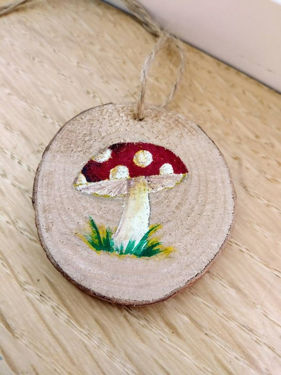 Mushroom Christmas Ornament Host Gift Wood Slice Hand Painted Nature Art Mushroom Art Fungi Fungus Mycology