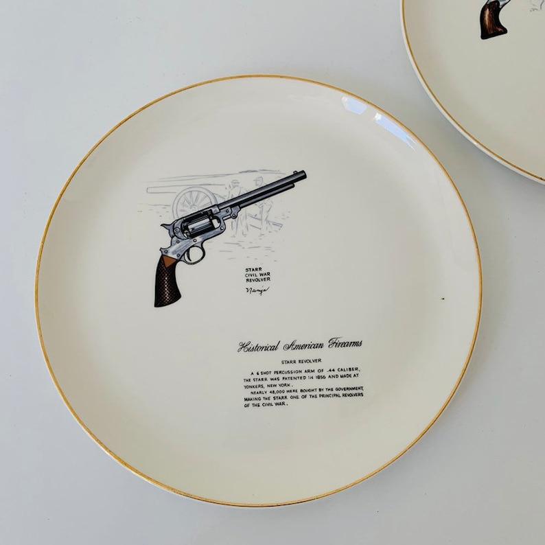 Vintage Historical Firearms Plates // Pair WS George Collectible Dinner  Plate Decorative Guns Illustration Newinger Civil War Revolver Colt