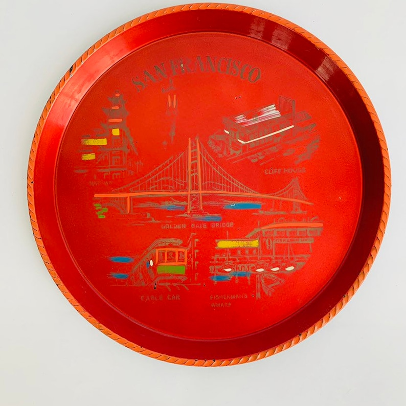 Vintage San Francisco Souvenir Tray  Round Red Plastic Serving Tray Chinatown Golden Gate Bridge Cable Car