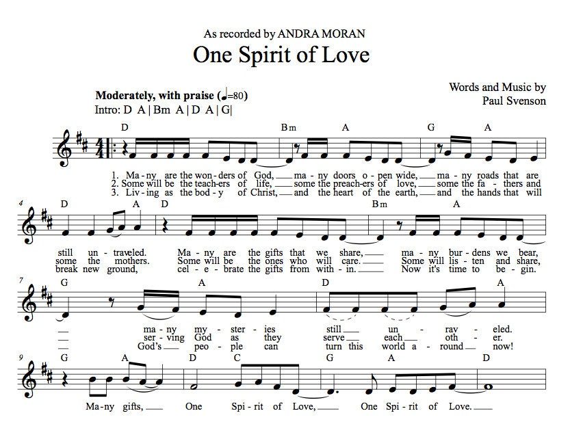 One Spirit of Love (Guitar & Piano) lead sheet with mp3 BUNDLE, song by  Paul Svenson, as recorded by Andra Moran and Josh Elson