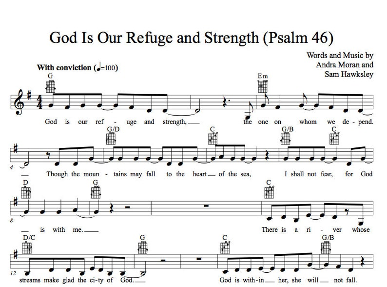 Psalm 46 (God Is Our Refuge and Strength) Guitar and Piano lead sheet and  studio mp3