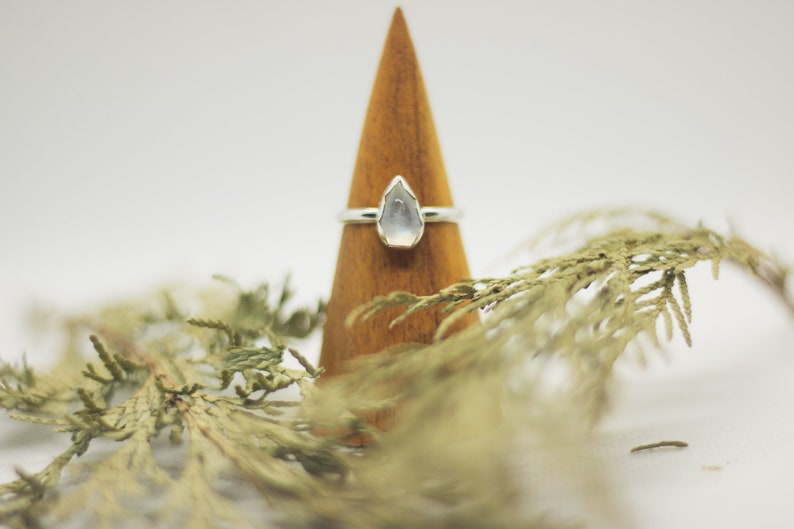 Moonstone Sterling Silver Ring Glacial Mist