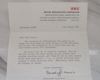Vintage 1973 Typed Letter from the BBC ~ Grandstand