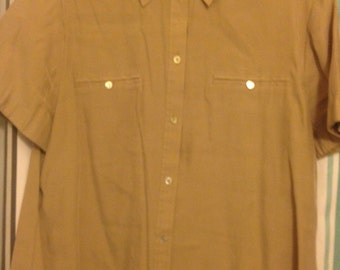faade4983 Vintage Chico's Brand Women's Button Down Shirt with Short Sleeves Size 3 ( Chico size XL)